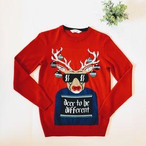 H&M Boys 10-12 Red Soft Deer Christmas Sweater